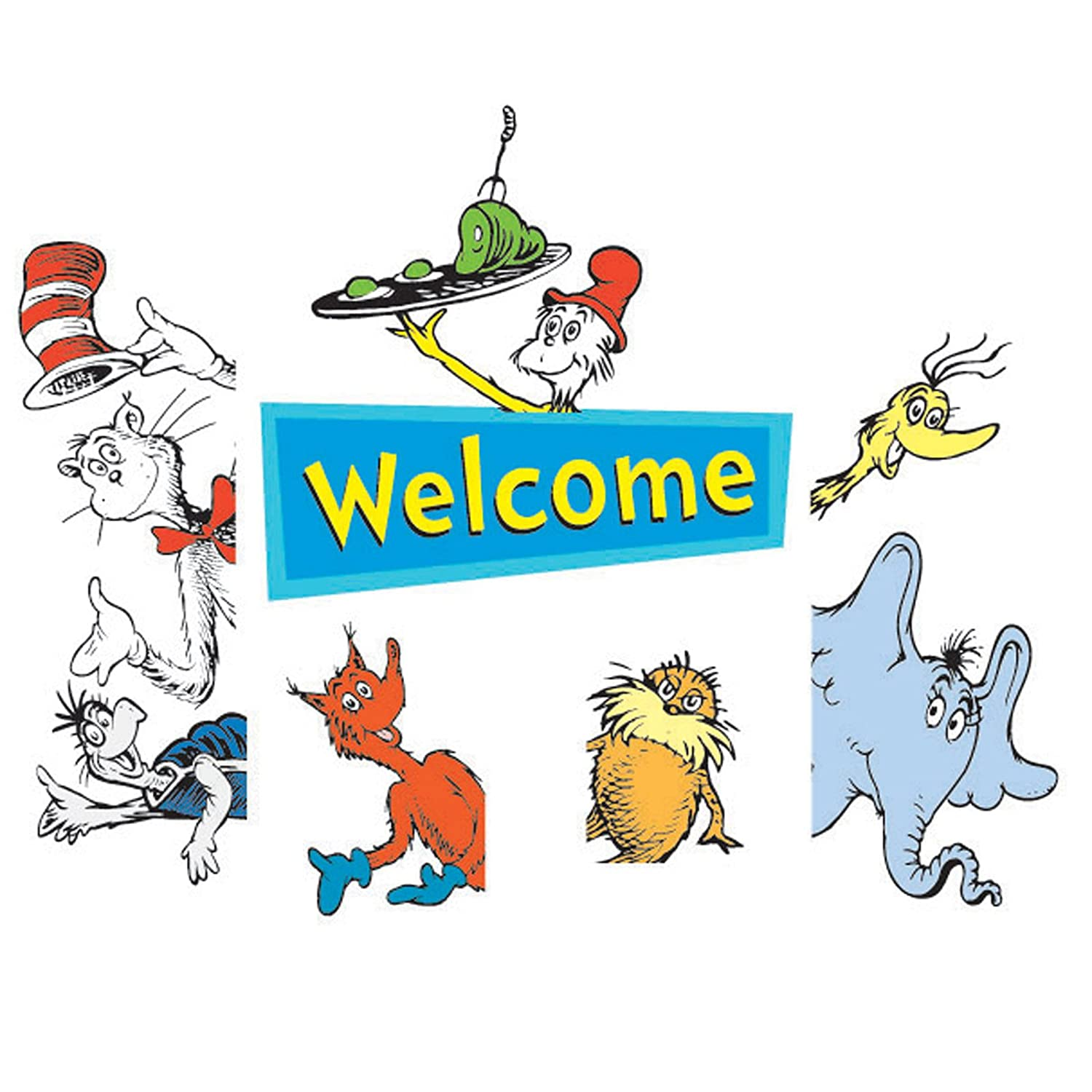 Eureka Back to School Dr. Seuss Cat in The Hat Door and Window Go-Around Classroom Decorations for Teachers, 2pc, 17'' W x 24'' H