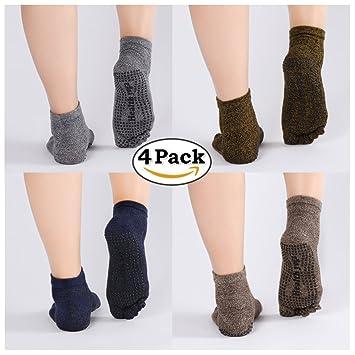 Zerame 4 Pares algodón Yoga Calcetines Hombre Antideslizante Calcetines de Cinco Dedos para Estos Deportes,