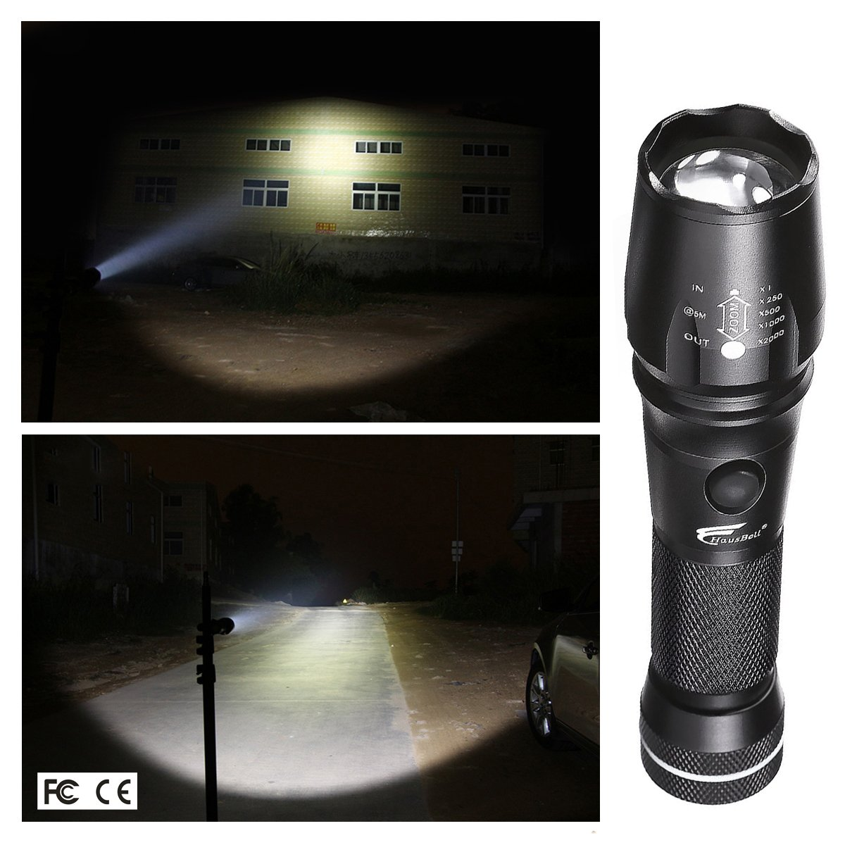 Flashlights,Hausbell Magnet Base T6-C 1000lumen LED Flashlight 3 Modes Zoomable