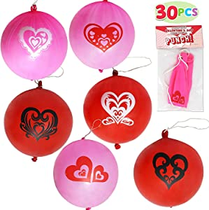 JOYIN 30 Pack Valentines Day Gift Cards with Gift Punch Ball Balloon Set for Classroom Exchange Prizes, Valentine Party Favors