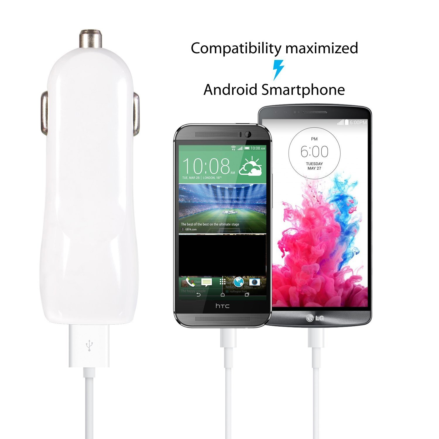 iRAG Car Charger for LG G4/G3/G2/V10/K30/K10/K20/K8/Nexus 5/Stylus/Stylo 3/Q6/X Power/X Charge/Tribute HD/Tribute Dynasty/Fortune/Harmony/Aristo 2-3.1 AMP 2-Port USB Car Adapter + 6ft Micro USB Cable by iRAG (Image #6)