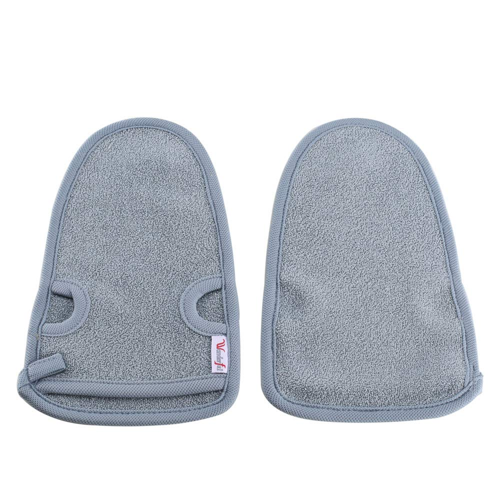 Exfoliating Gloves KINDPMA Bath Scrub Gloves Plant Fibres Shower Gloves with Thumb Holes for Men and Women Face Body SPA Mitts Skin Exfoliator Remove Dead Skin Cells, Grey 2 Pcs