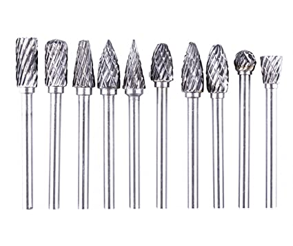 10 CARBIDE Burr Bits Double Cut Set For Rotary 3mm Shank Drill Bits