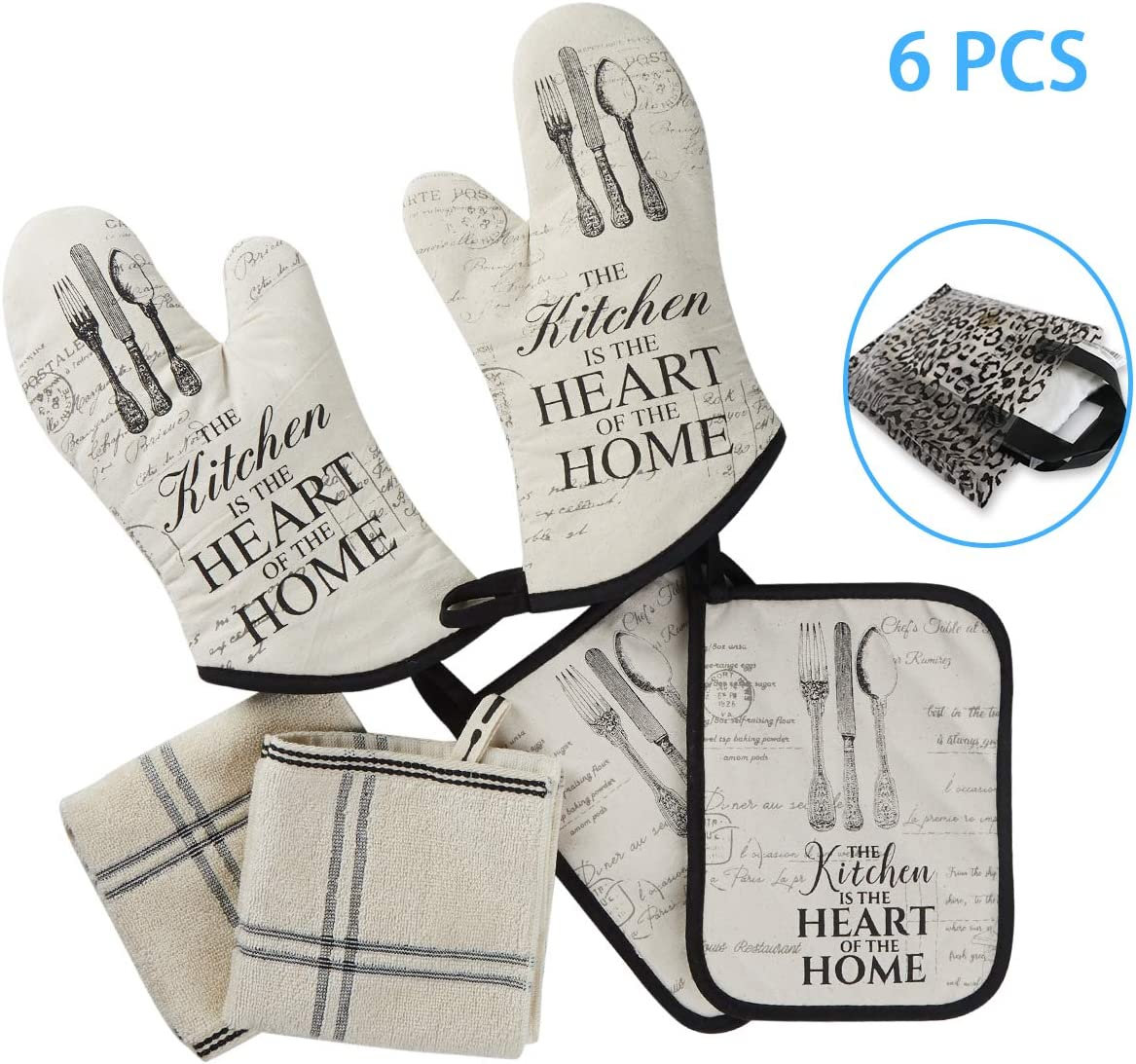 Warome Oven Mitts and Pot Holders Set&Kitchen Cotton Towels,Heat Resistant Glove(2pcs) with Kitchen Towels(2pcs)Soft Cotton Lining,Multi-function Pan Pad(2pcs),Surface for Cooking Backing BBQ Grilling