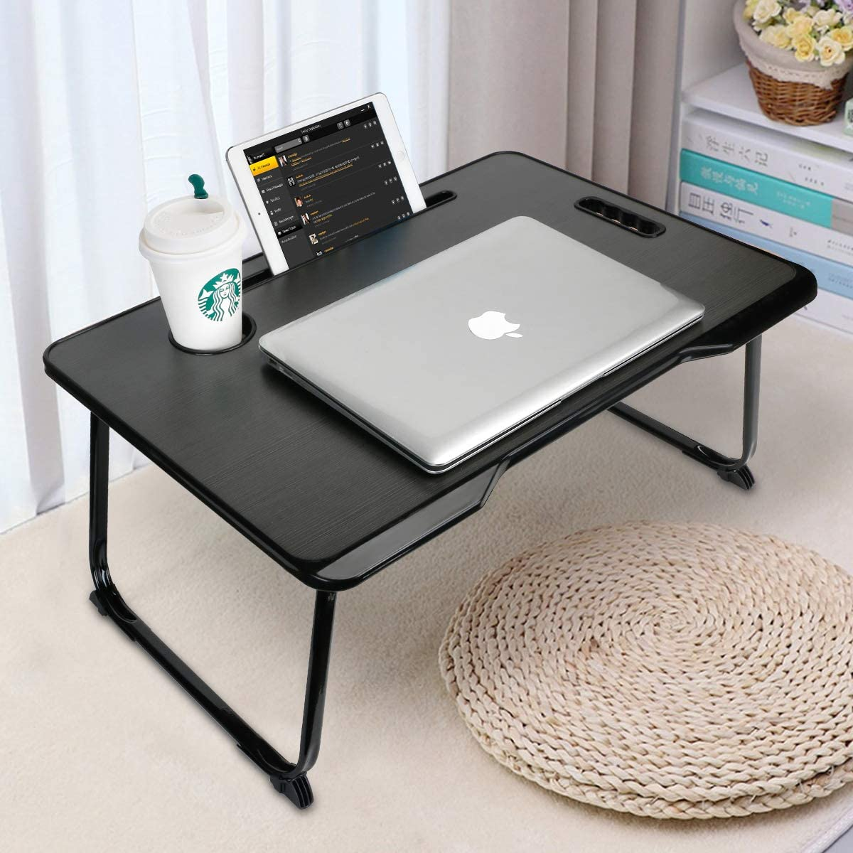 Amazon Com Laptop Bed Tray Table With Handle Astory Portable Laptop Desk Notebook Stand Reading Holder With Foldable Legs Cup Slot Tablet Groove For Bed Sofa Couch Floor Black Office Products