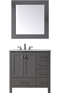 Stufurhome GM 6412 36GY CR M35 Modern Stufurhome 36  Malibu Single34  White Ceramic Counter with Sink Bathroom Vanity Cabinet At2002  . 34 Bathroom Vanity. Home Design Ideas
