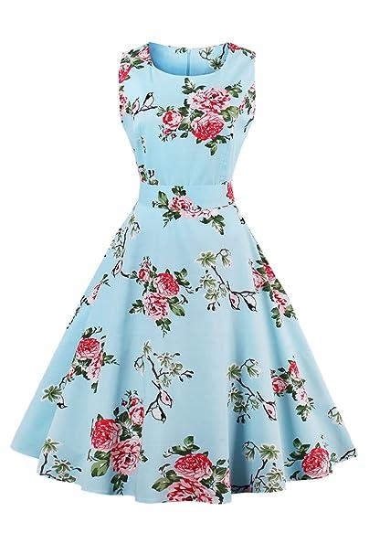 Las Mujeres Vestido Vintage Años 50 Retro Summer Floral Vestidos De Coctel Azul S