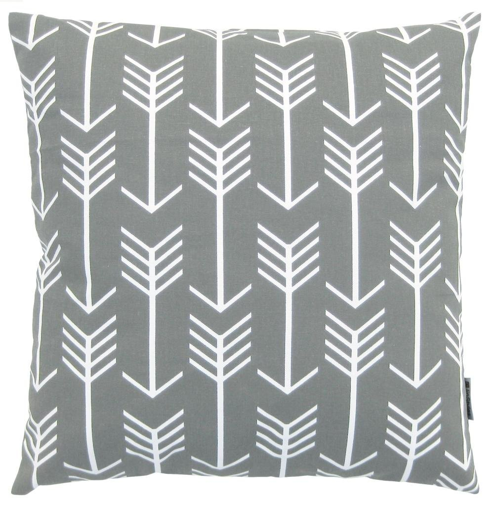 amazoncom jinstyles arrow cotton canvas decorative throw pillow cover slate gray and white 18 x 18 inches home u0026 kitchen