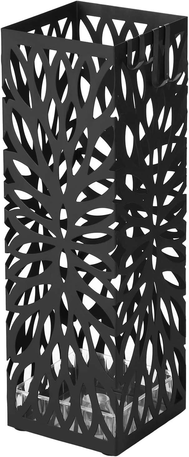 SONGMICS Metal Umbrella Stand, Square Umbrella Holder Rack, with Hooks and Drip Tray, 15.5 x 15.5 x 49 cm, Black LUC48B