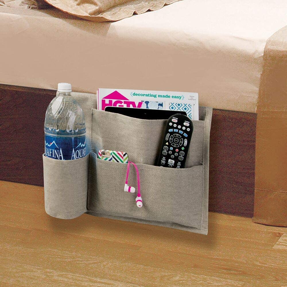 Books Heavy Cotton Canvas Slim Space Saving Design Light Gray//Wire Insert in Matte Satin Magazines 4 Pockets mDesign Bedside Storage Organizer Caddy Pocket Holds Water Bottles 2 Pack