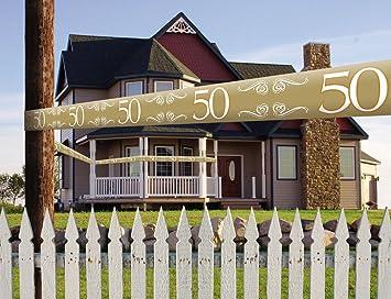 Banda – * Número 50 oro * como decoración para bodas y cumpleaños//Aniversario Dorado Fiesta de cumpleaños Fete guirnalda