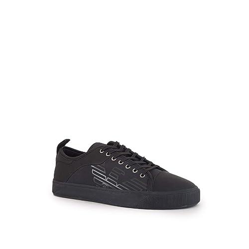 Emporio Armani - Zapatillas de Lona para Hombre Negro Negro Negro Size: 45 EU: Amazon.es: Zapatos y complementos