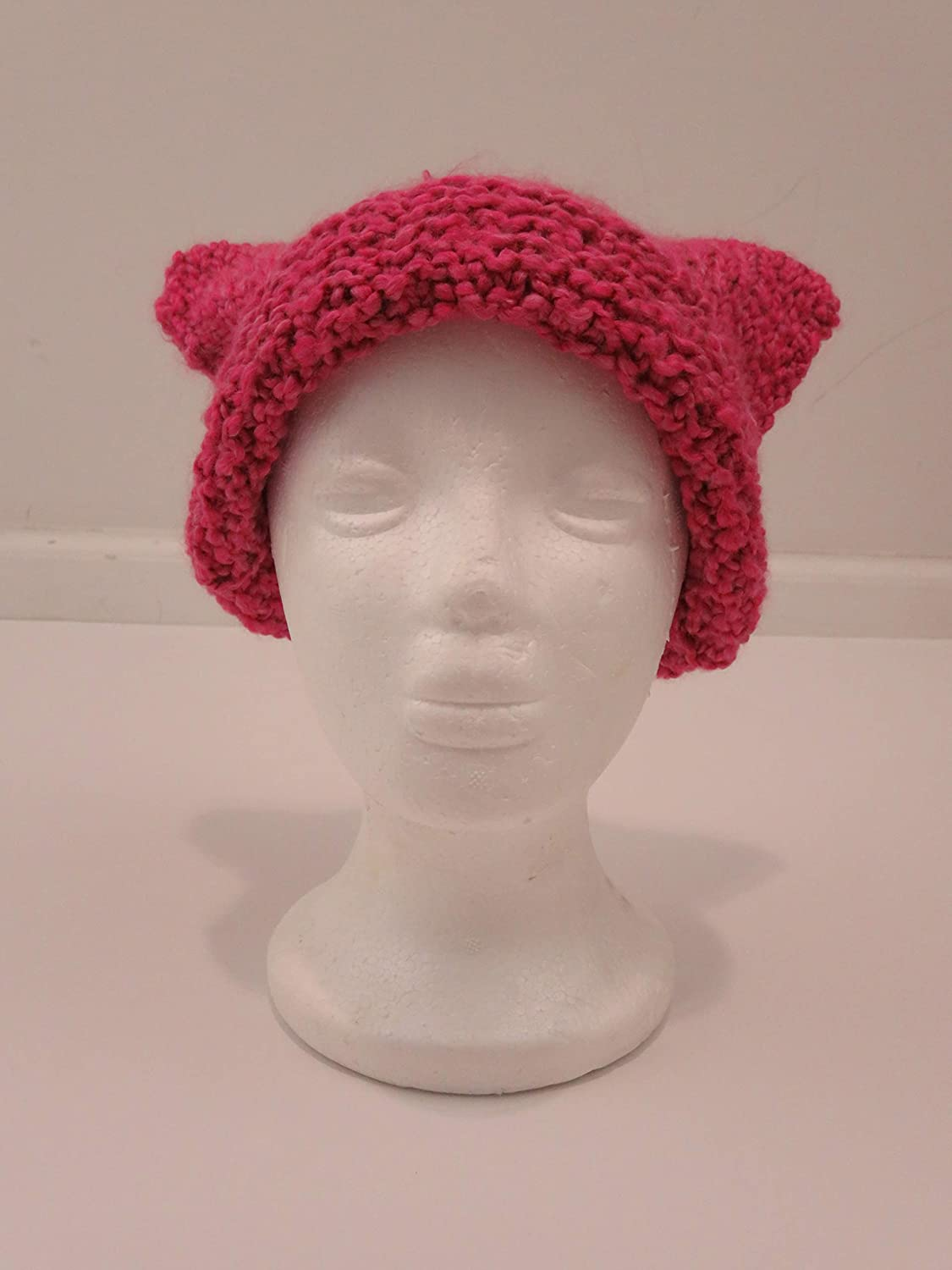 Pink Pussyhat Pink Cat Hat Womens Hat Raspberry Pink Ear Flap Cat Hat Ear Flap Hat Pink Hat Pink Beanie Pink Pussy Hat