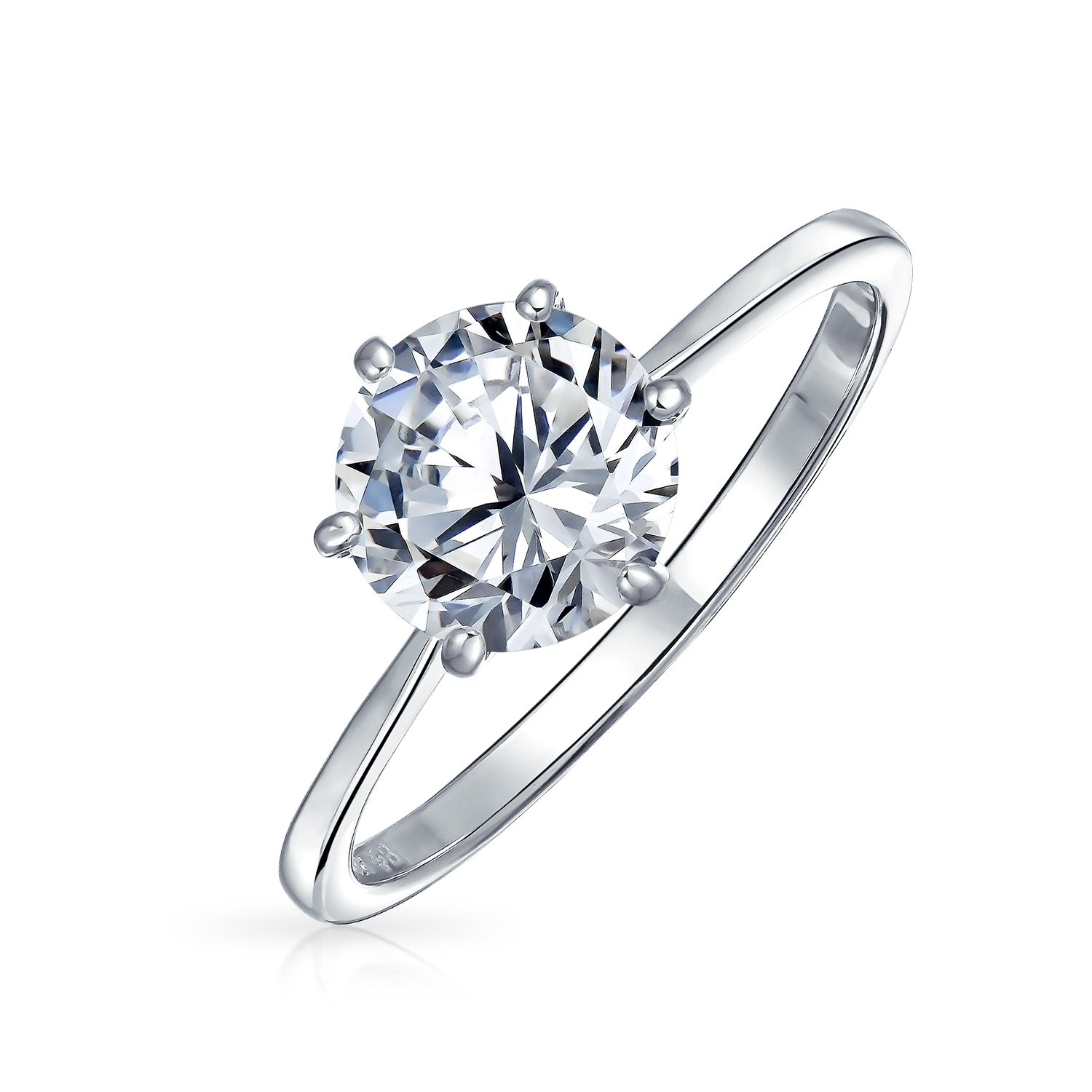 Bling Jewelry 925 Sterling Silver Round CZ Solitaire Engagement Ring - Size 5