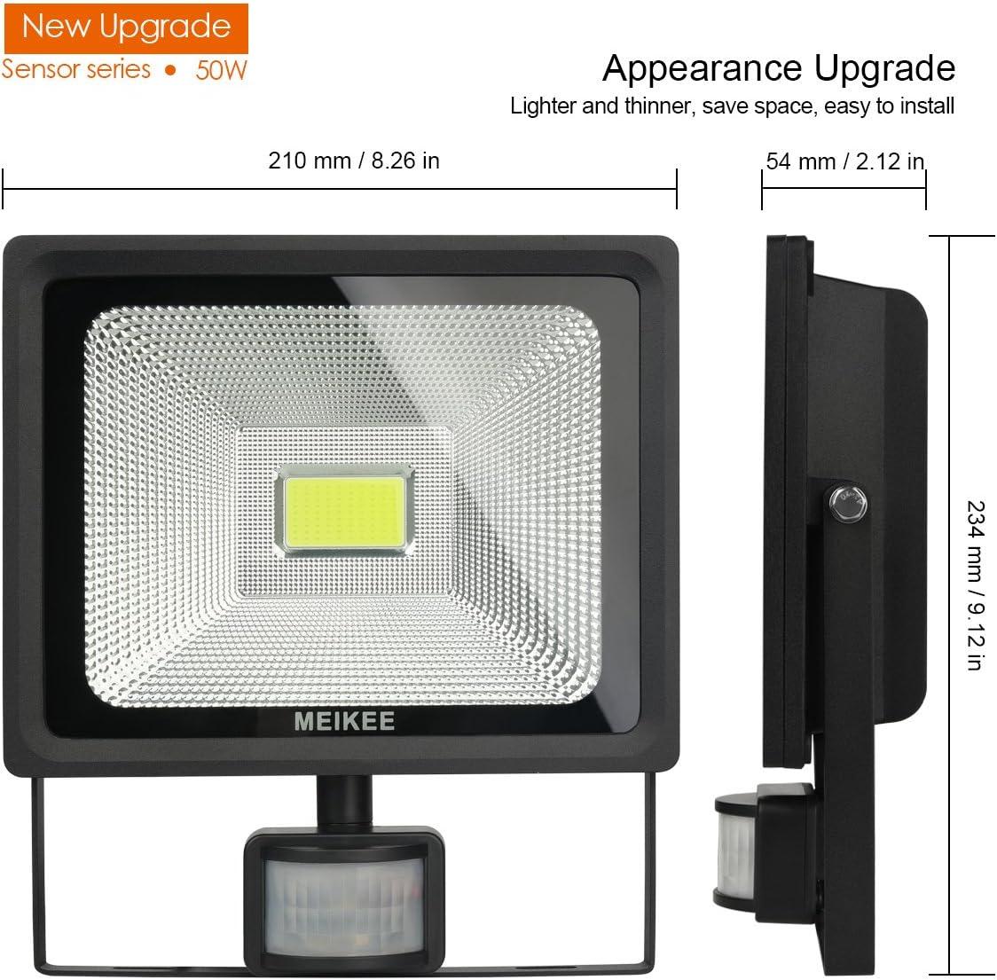 Ideal for Garden 50W Yard and Stairs MEIKEE Motion Sensor Lights Garage LED Motion Sensor Light Outdoor Flood Light with Motion Sensor