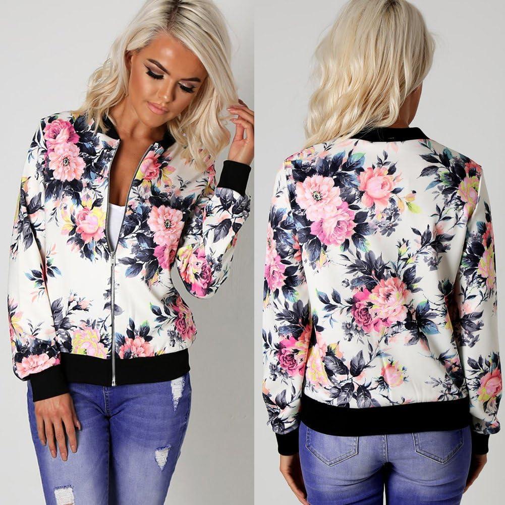 Trendyest Women Biker Celebrity Camo Flower Floral Print Bomber Jacket Outwear Coat
