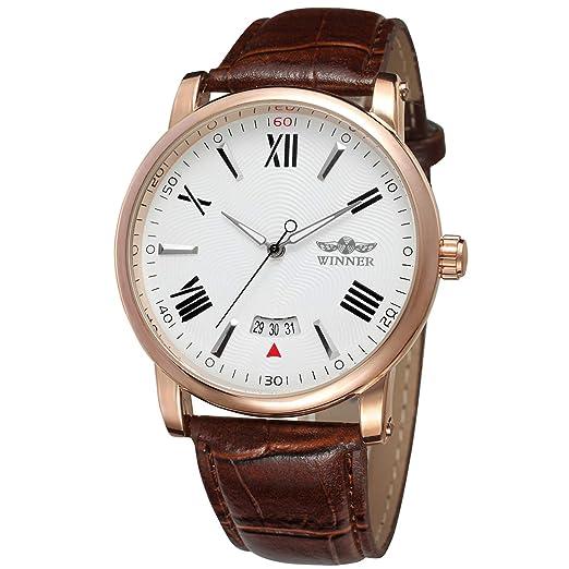 Forsining Casual hombre correa de piel carcasa de aleación de esqueleto automático mecánico reloj de pulsera wrg8051 m3r10: Amazon.es: Relojes