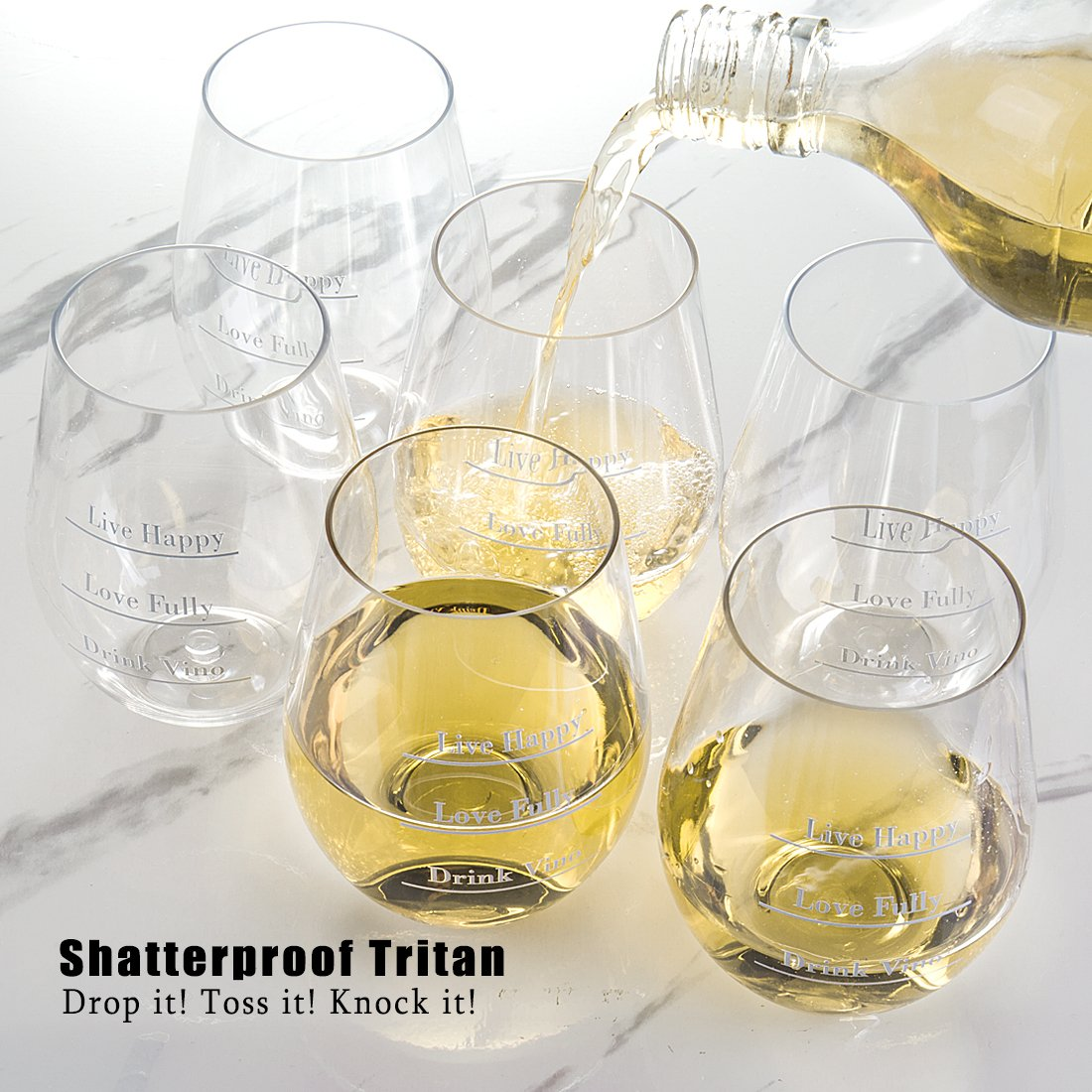 Avery Barn Tritan Wine Glasses Stemless With Saying | 6pc Set 12oz Unbreakable Shatterproof Acrylic Glassware Tumblers | BPA-Free Plastic | For Red White Wines | Boat & Pool Parties | Dish Washer Safe by Avery Barn (Image #2)