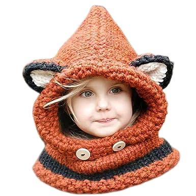 ARAUS-Bonnet Chaud Chapeau Cagoule Renard Bebe Enfant Echarpe Hiver Automne  en Laine Tricote ( 45dcc6872cf