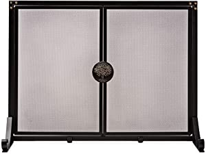 Plow & Hearth Large Greenwood Fire Screen with Doors, Embossed Oak Tree Handle, Magnetic Closure, Adjustable Back Fee, Easy Assembly, Black Finish with Bronze Highlights, 44