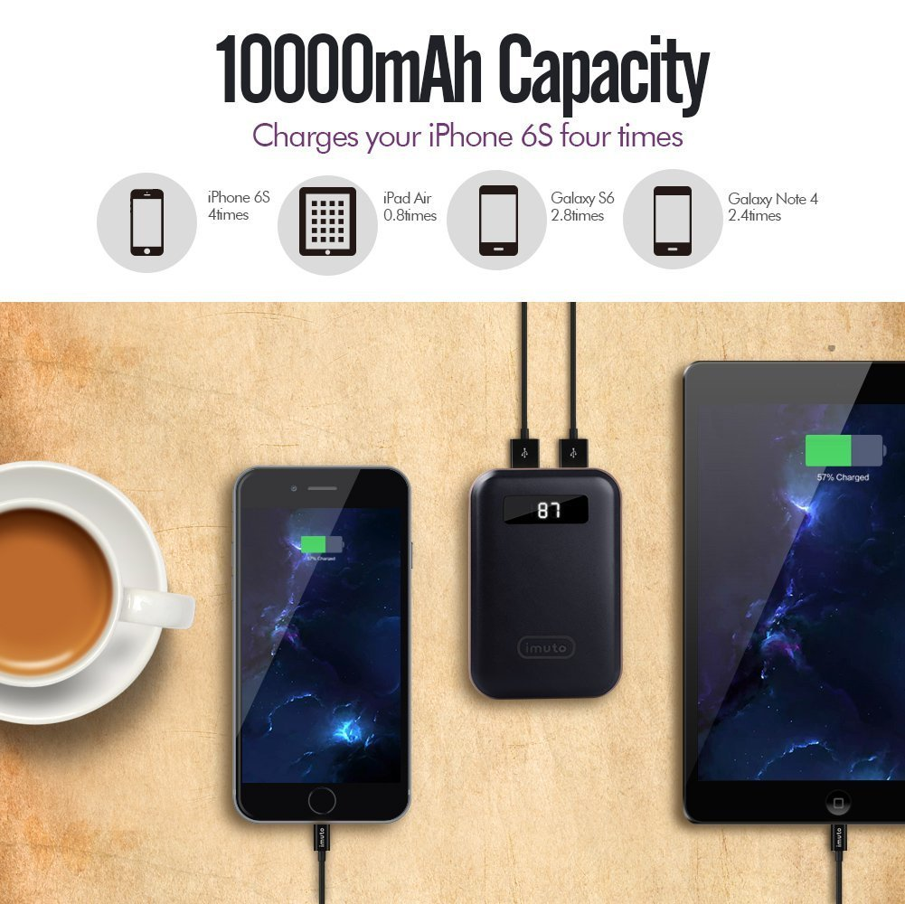 Samsung Galaxy S8 Smart Phones Tablets and More Note 8 iMuto 10000mAh Pocket Size Portable Charger Power Bank with LED Digital Display iPad Mini External Battery Pack for iPhone X 10 8 7 6S Plus