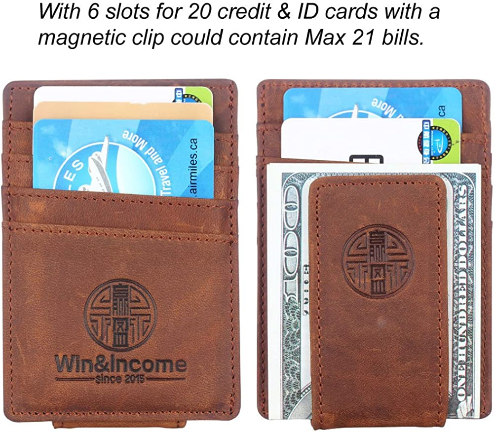 Win/&Income Money Clips,Mens Wallet,Leather Thin Clip Wallets,Front Pocket Card Holder,Brown