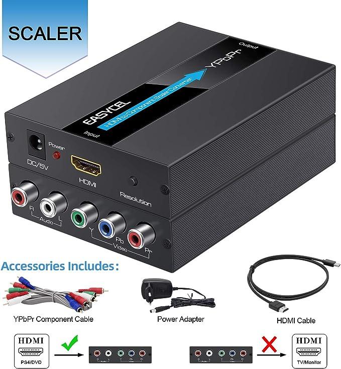 Easycel - Conversor de HDMI a componente (YPbPr/RGB / 5RCA, con función de escalador, aluminio, entrada HDMI a Component (YPbPr/RGB / 5RCA): Amazon.es: Electrónica