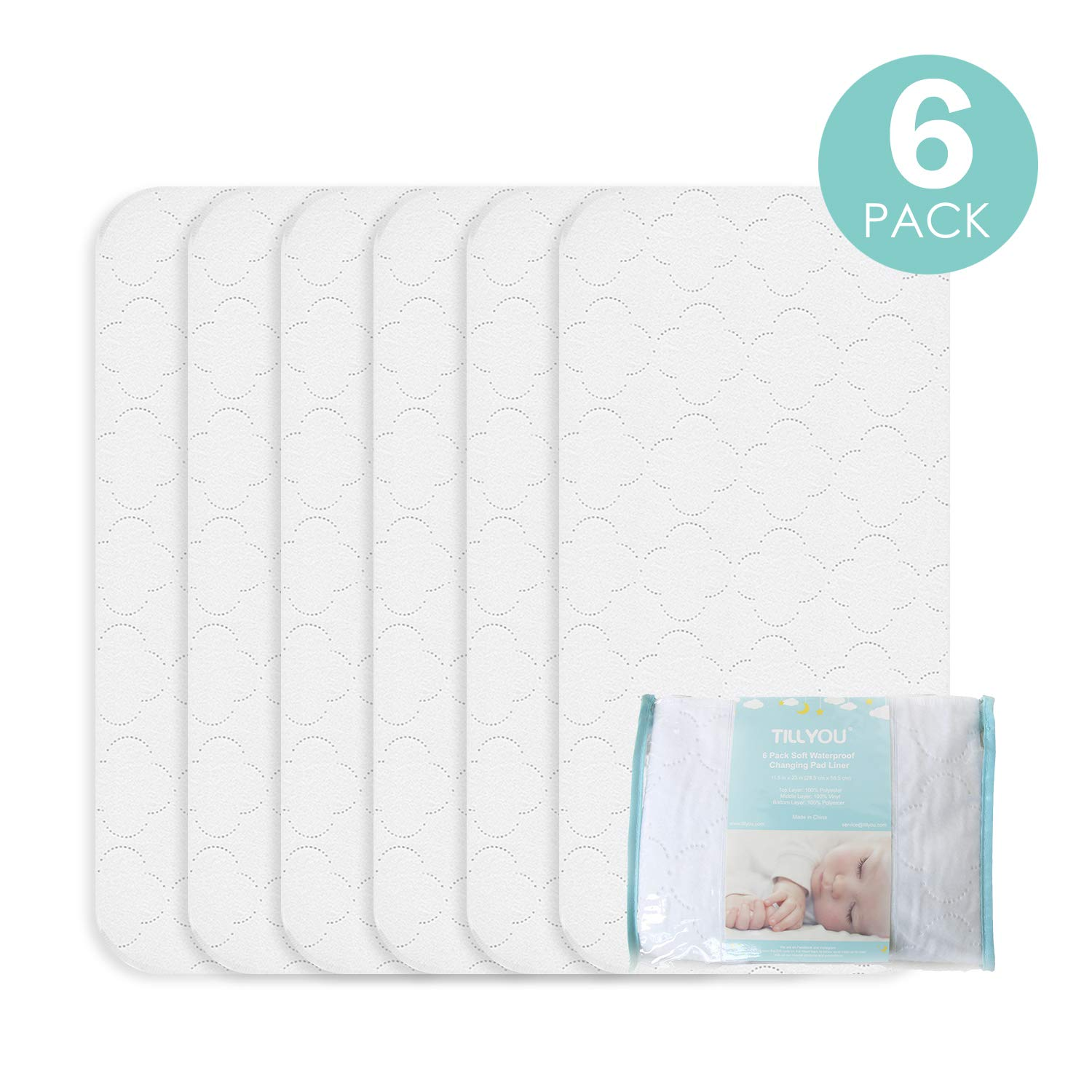 TILLYOU Portable Quilted Changing Pad Liners Waterproof, Ultra Soft Thick Breathable Changing Table Cover Liners, 11.5'' X 23'' Washable Reusable Changing Mats Sheet Protector, 6 Pack by TILLYOU