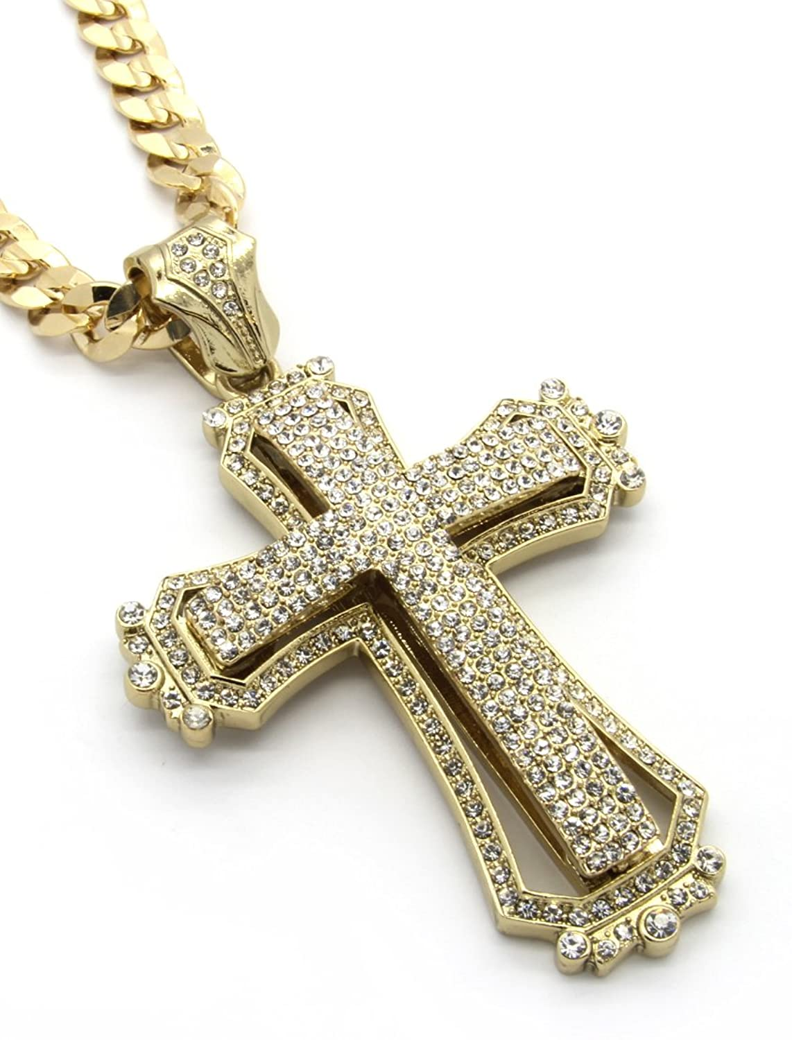 Mens gold tone large hollow cross iced out pendant with 30 10mm mens gold tone large hollow cross iced out pendant with 30 10mm cuban chain necklace amazon mozeypictures Image collections