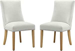 """Amazon Brand – Ravenna Home Lamberton Curved-Back Dining Chair with Nailheads, Set of 2, 19.5""""W, Beige"""