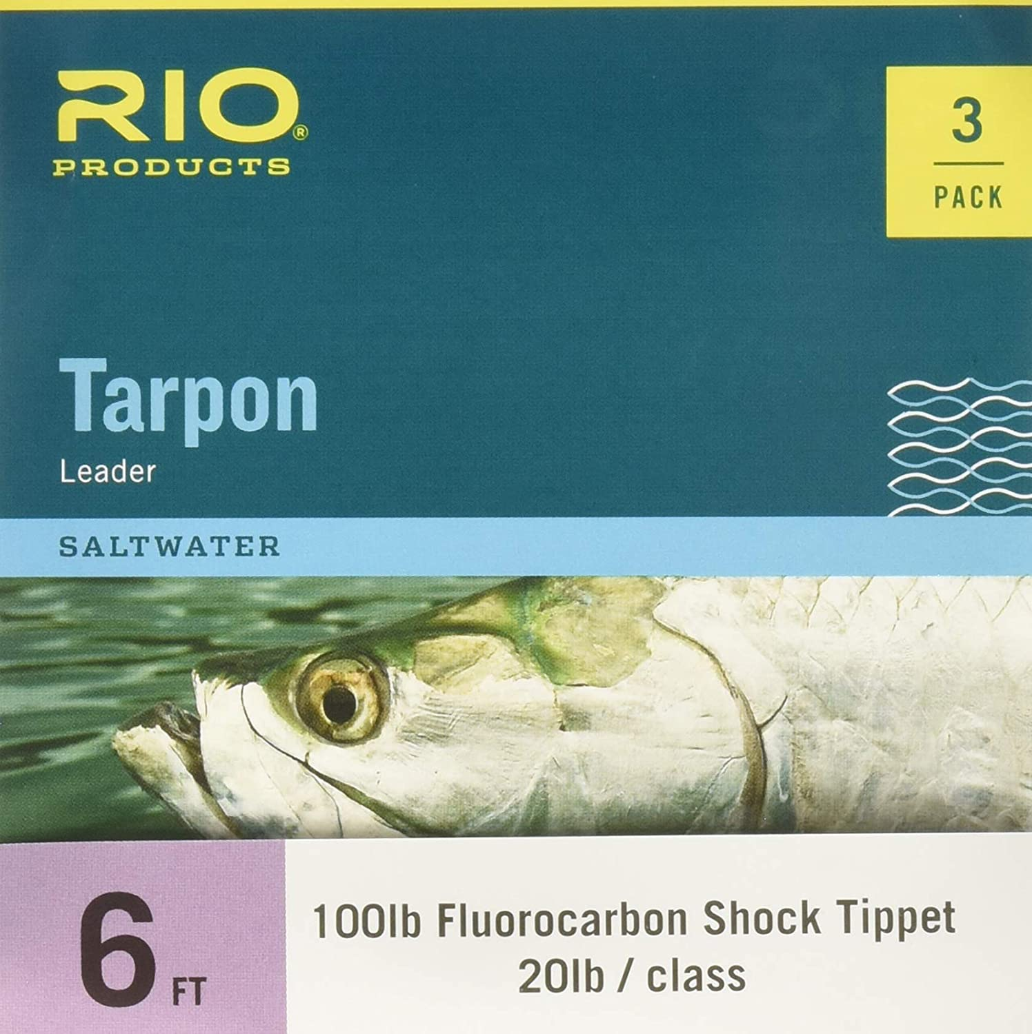 RIO Fly Fishing Tarpon 6 60Lb Fluorocarbon Shock 3 Pack Fishing Leaders, Clear