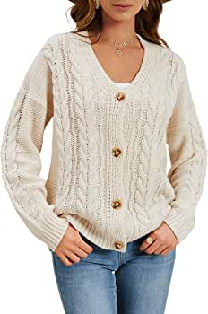 SySea Women's Button Down Cable Knit Cardigan Chunky V Neck Open Front Sweater Coats
