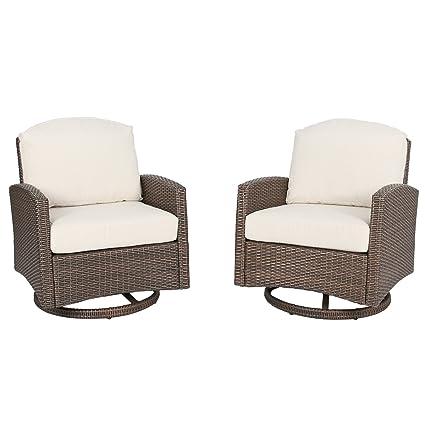 Miraculous Ulax Furniture Outdoor 2 Piece Wicker Swivel Club Chair Patio Lounge Chair With Cushion Beige Inzonedesignstudio Interior Chair Design Inzonedesignstudiocom