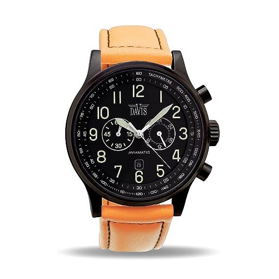 Davis 0452O - Reloj Aviador Hombre Negro 48mm Cronógrafo Sumergible 50M Correa de Lorica Naranja: Amazon.es: Relojes