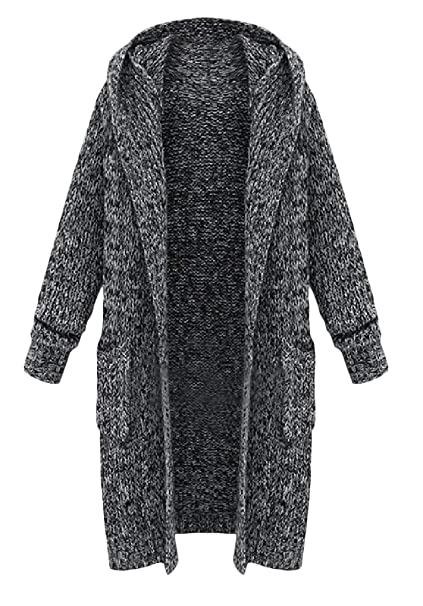 8e2392ff898a3 Cromoncent Womens Winter Open Front Hooded Knitwear Plus Size Outwear  Cardigan Sweater at Amazon Women s Clothing store