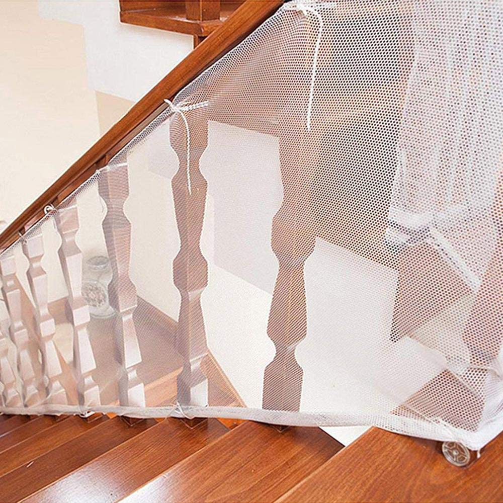3 X 0.77M // Blanca para Fijar en Barandillas de Escaleras Patios y Balcones Resistente y Facil de Instalar Red de Seguridad Malla para Protecci/ón Infantil a Ni/ños y Beb/és