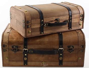 Fonkelnieuw Deko Koffer Set Holz Vintage Retro 2er Set 45/37 cm: Amazon.de WR-96