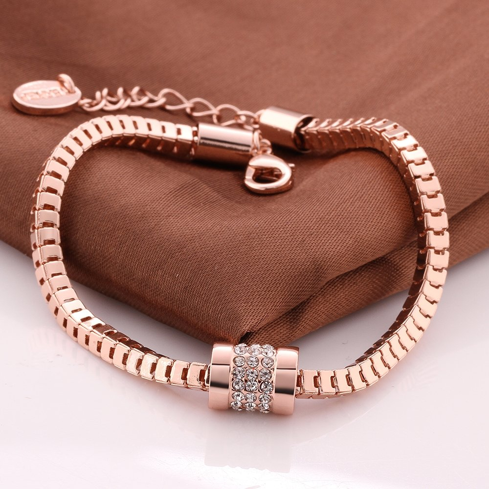 Annymall Rose Gold Plated Fashion Jewelry Crystals Unique Link Bracelet Women Girls SL0012