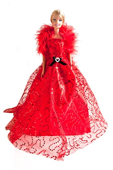 Buy Phashionista Barbie Red Sequins Ball Gown With Feather Scarf Bride Barbie Red Sequin Gown Dolls Not Included Online At Low Prices In India Amazon In