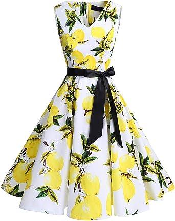 TALLA 3XL. Bridesmay Vestido de Cóctel Fiesta Mujer Verano Años 50 Vintage Rockabilly Sin Mangas Pin Up White Lemon 3XL