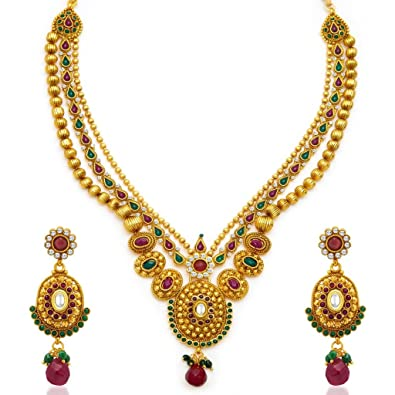 7787a0eac Buy Sukkhi Fancy Gold Plated Three String Necklace Set for Women Online at  Low Prices in India | Amazon Jewellery Store - Amazon.in