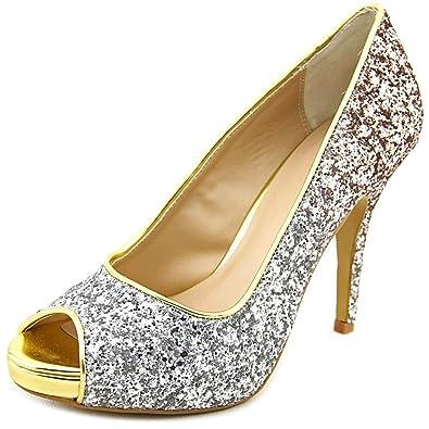 Thalia Sodi Womens Cereza Peep Toe Classic Pumps Silver/Gold Glitter Size 6.0