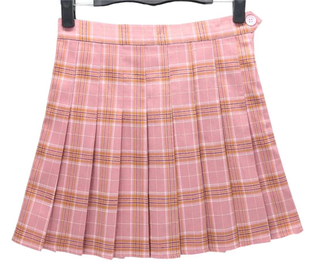 Gihuo Schoolgirls Cute High Waist A-Lined Pleated Tartan Plaid Mini Skirt (S, Pink)