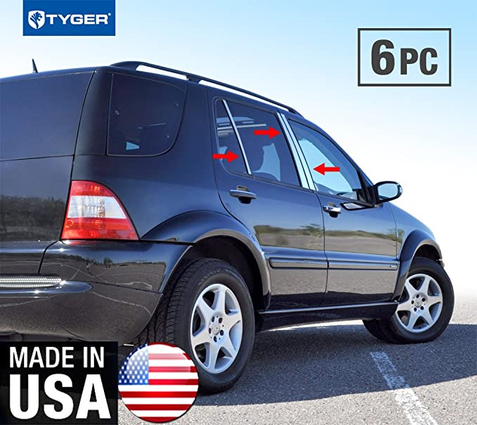 Made in USA Works with 1998-2005 Mercedes-Benz ML300//350//500 6PC Stainless Steel Chrome Pillar Post Trim
