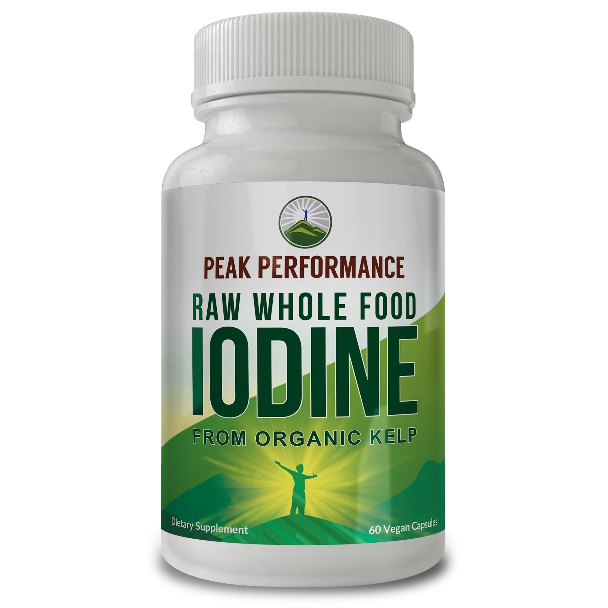Raw Whole Food Iodine From Organic Kelp (Ascophyllum Nodosum) By Peak Performance. Thyroid Support Supplement. Great For Metabolism, Energy and Immune Boost - 60 Vegan Capsules