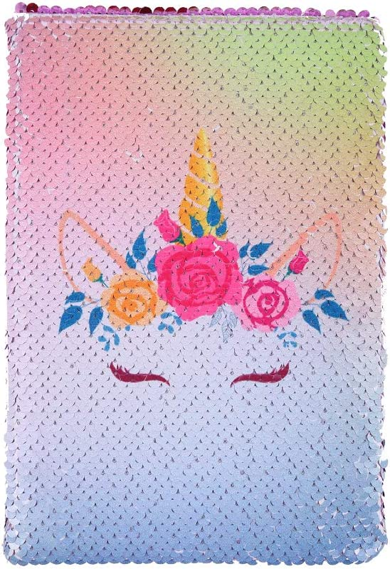 dorisdoll Sequin Notebook A5 Size Unicorn Mermaid Diaries Magic Reversible Glitter Notepad for Kids School Office DIY Writing Book Pink Unicorn