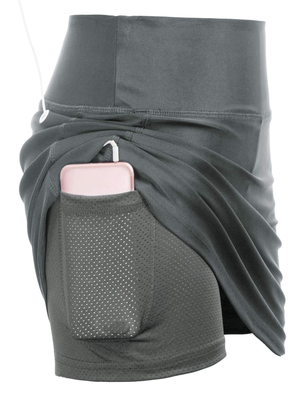 JACK SMITH Active Women's Golf Athletic Skort with Underneath Shorts(XL,Grey) by JACK SMITH