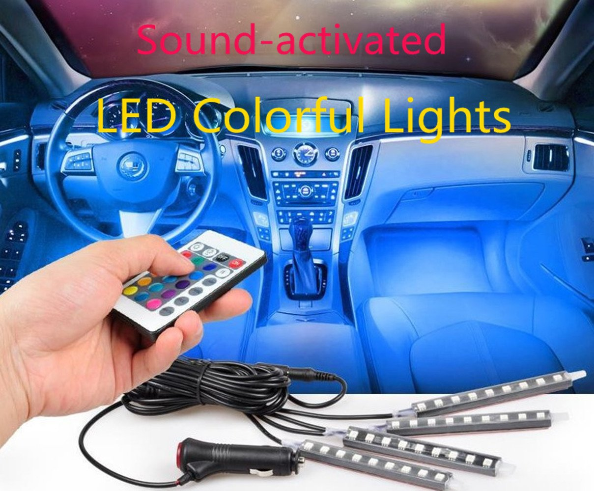 Flexible Car Lights kit Interior Atmosphere LED Lighting LED Interior Underdash Lighting Kit RGB Color Changing Decorative LED Lamp + Music Controller