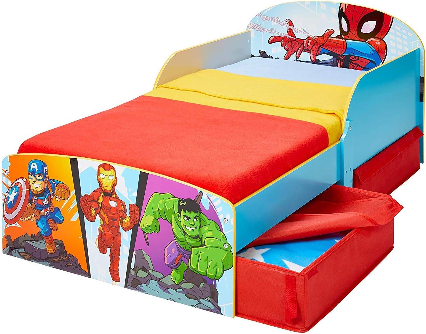 Cama colch/ón edred/ón almohada conjunto dise/ño de Los Vengadores de Marvel Disney Cama infantil con cajones de almacenamiento Bebegavroche Pack Premum