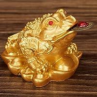 SM SunniMix Feng Shui Denaro Fortuna Orientale Cinese Ricchezza Rospo Rana in Resina Oro Decorazione Arredamento Casa Ufficio